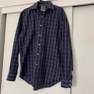 Thomas Dean checkered dress shirt